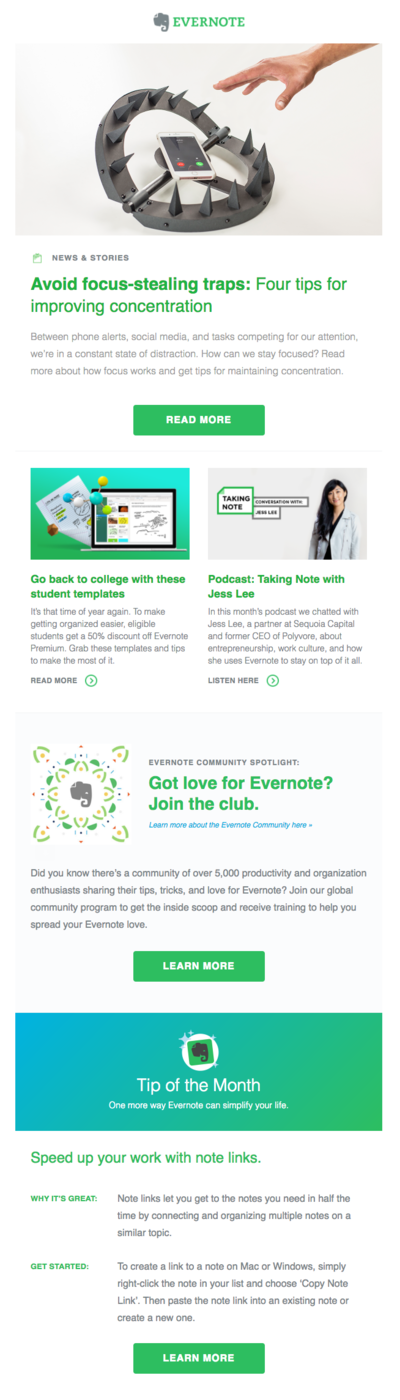 Evernote email copy example