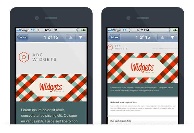 Comparison of mobile friendly emails