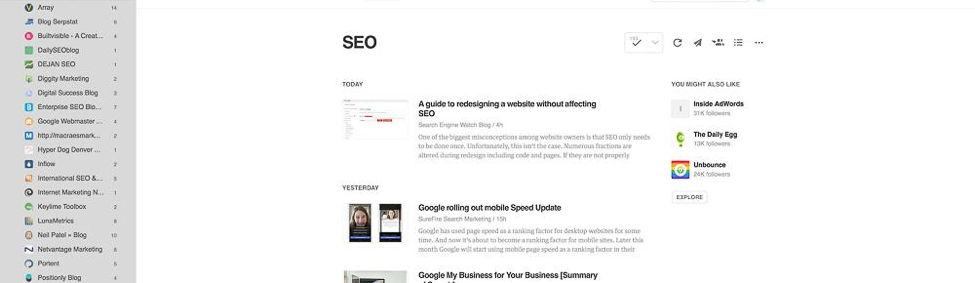 Content Tool for Social Media - Feedly