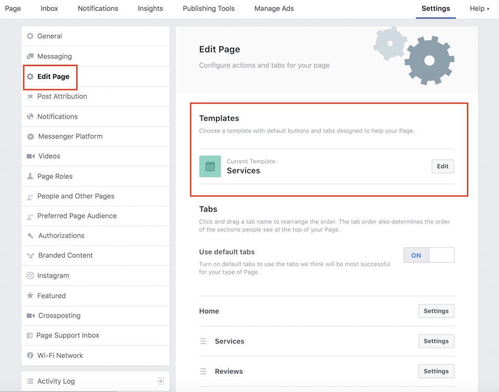 Edit Your Facebook Business Page Template