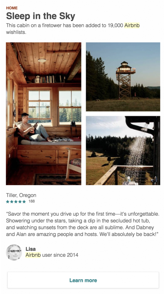 Airbnb capitalizes on the power of peer recommendations