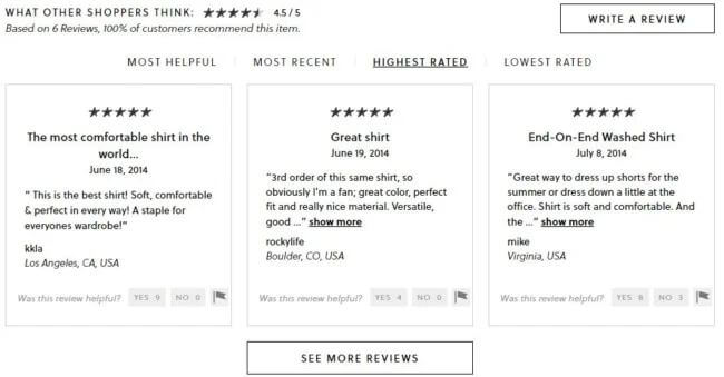 J.Crew let customer reviews take center-stage on their website