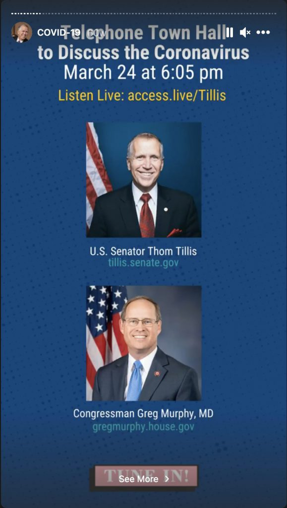 Office of U.S. Senator Thom Tillis relied on Telephone Town Halls to engage with their audience
